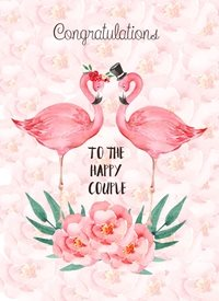 Wedding Flamingos, Pink, Roses personalised online greeting card