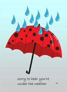 Her Nibs  Under the weather 2 Well For Her For Him For Children Brolly Raindrops Red Blue Black  personalised online greeting card