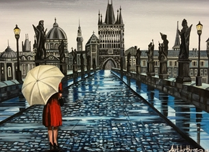 Art By Three  Prague Charles Bridge art Anniversary her mums girlfriends Prague Charles Bridges rivers Cities rain woman reflections umbrellas puddles romance romantic birthday love for-him for-her  personalised online greeting card