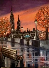Art By Three  Contemplation General art New York umbrellas rain reflections for-him for-her skylines night time trees autumn leaves man walking alone benches lamposts purple orange skies puddles cities oils  general blank all occasions art  personalised online greeting card