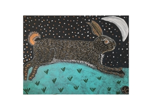 art hare midnight animals art personalised online greeting card