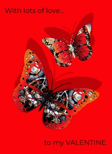 Red admiral art card for valentine's day