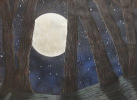 General trees, moonlight, stars, nature, night personalised online greeting card