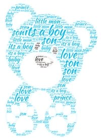 baby new baby, baby boy, blue, bear,  personalised online greeting card