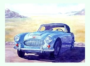 general Austin Healey  blue beach for-him sand coast classic cars   dad son granddad friend uncle personalised online greeting card