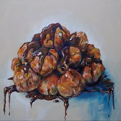 General profiteroles, choux, pastry, cake, cream, chocolate, drippy, dribble, food, pudding, desert, sweet, art, realistic, painting, acrylic, simple personalised online greeting card