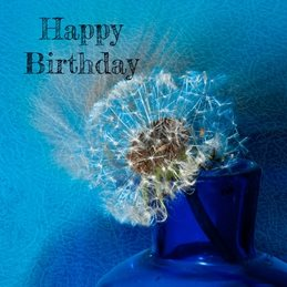 Birthday blue, dandylion  personalised online greeting card