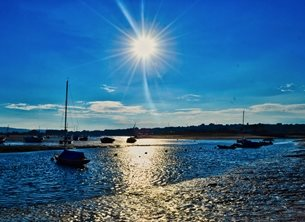 Photography  greeting cards by Isle Take Photos sun, harbour, shimmering, summer, blue, sky, blue sky, water, sea, reflection, sunlight Harbour Sun