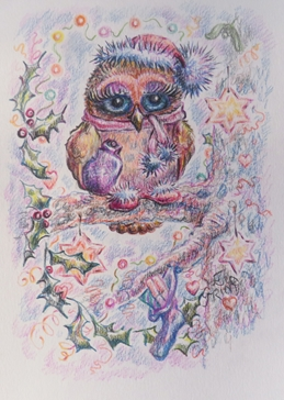 General owl, Christmas hat, snow, holly, stars, presents, hot water bottle, scarf, eyelashes, slippers, cosy, warm, chilly, fairylights, mistletoe, tree, decorations, cute, whimsical, for-children for-her  personalised online greeting card