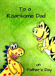fathers dinosaurs animals green red yellow blue dad father for-him personalised online greeting card