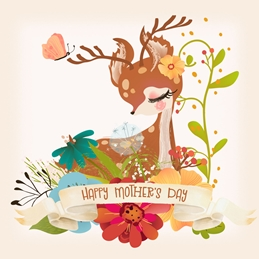 Snappyscrappy Mothers Day Mothers Deer, Cute, Woodland Animal,  personalised online greeting card