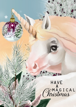 Christmas unicorns family friends personalised online greeting card