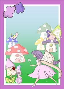 Her Nibs  It's all about fairies Children Fairies toadstool houses flowers clouds red green purple blue happy personalised online greeting card