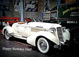 birthday vintage cars vehicle bikes motors   Dad daddy father Happy z%a personalised online greeting card