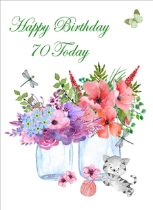 Birthday For-Her 70th Jars Flowers Kitten Wool Purple Yellow Pink Green Happy personalised online greeting card