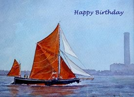 Birthday artwork boat London river water for-him personalised online greeting card