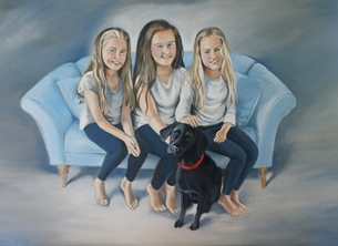 Kelly family portrait painting  personalised online greeting card