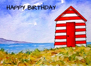 EmilyJane Beach Hut Birthday Birthday beach hut,beach,sand,sea,summer,sky,red,blue,green,for-him,for-her personalised online greeting card