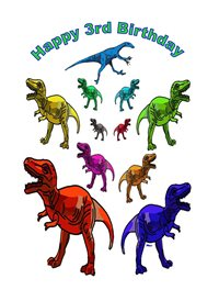birthday children Dinosaur fun 3 z%a personalised online greeting card
