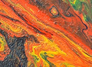 art Abstract, Orange, Yellow, Red, Green, Vibrant , Painting, personalised online greeting card