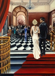 "Art By Three  ""Shall We?"" Art general Art Deco  oils art blank general all occasions for-him for-her  lovers couples anniversary celebrations fineart vintage   ballrooms romance dancing parties music musicians bands proms red white dresses elegant luxury personalised online greeting card"