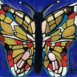 art butterfly, butterflies, mosaics, abstract, stained glass, bright, bold, uplifting, blue, patterned, birthday, art, girl, mother, mum, friends,  personalised online greeting card