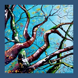 art trees, abstracts, contemporary ary, turquoise, teal, modern art, nature cards, spirituality, meditation, new age, relax, keep calm, personalised online greeting card