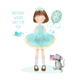Birthday Girl, For-her, Cute,  personalised online greeting card