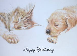 Wildart Kitten and puppy Birthday happy birthday personalised online greeting card