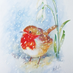 Wildart Robin and snowdrops art Christmas robin personalised online greeting card