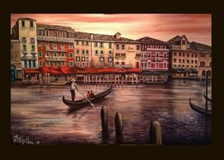 fineart Venice landscapes gondolas couples romance for-him for-her oils art blank general all occasions him her anniversary girlfriends boyfriends lovers canals Italy buildings dusk sunset bridges gondoliers orange hotels water fineart  personalised online greeting card