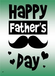 Her Nibs  Moustache and Hearts  Fathers  Dad Daddy Moustache Hearts Green White Black  personalised online greeting card