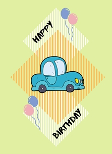 Birthday For Him Cartoon Car Balloons Green Blue Purple Pink Orange Yellow Happy  personalised online greeting card