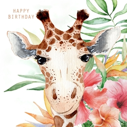 Birthday BIRTHDAY GIRAFFE celebrate personalised online greeting card