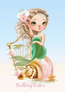 Birthday children Mermaid, Fantasy personalised online greeting card