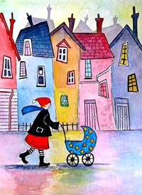 Art  baby pram houses landscape z%a personalised online greeting card