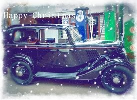 Wonky Doodle Designs Have a vintage Christmas Christmas vintage car black old snow  olden golden  z%a personalised online greeting card