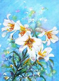General artwork lilies flowers for-her personalised online greeting card