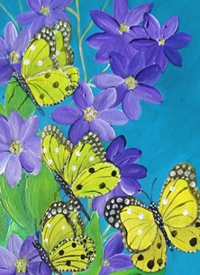 Butterflies and Purple Clematis 1