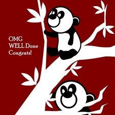 congratulations  for-him, for-her,panda, red, positive, celebrations, personalised online greeting card