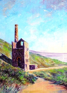 art artwork  Cornwall coast sea sky engine-house for him for-her personalised online greeting card
