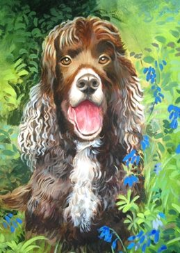 Mary Dodd Art Spaniel in the Woods artist Spaniel bluebells dog birthday art card painting artist anniversary dogs personalised online greeting card