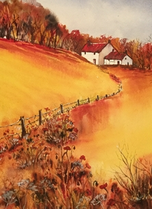 Art Cottage in a field of corn and poppies personalised online greeting card