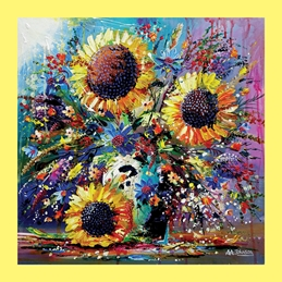 art  greeting cards by Andrew Alan Art sunflowers, art cards, impressionist paintings, gardens, still life, contemporary art, fine art, luxury cards, big flowers, sun, flowers in vase, grandma, mother, sister, birthday cards with flowers,  Sunshine and Splendour (border)