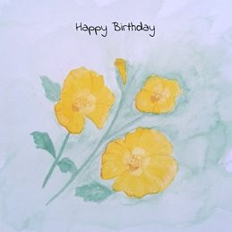 Birthday wayercolours poppies yellow flowers for-her personalised online greeting card