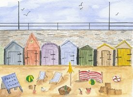 art beach huts sand deck chairs buckets and spades fresh fish seaside personalised online greeting card