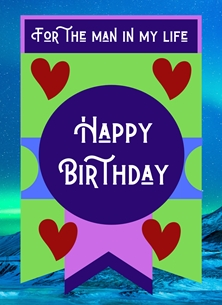 Birthday For Him Birthday Hearts Shapes Sea Blue Purple Red Green  personalised online greeting card