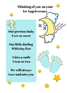 Baby Feet,Blue,Moon,Stars,Baby Loss, personalised online greeting card