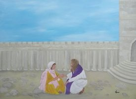 art Christ Jesus, Christianity, Spiritual theme, faith, religious  bible story, temple, biblical, love, man and woman, Christian artist, Catholic, bible story, scripture, Easter, forgiveness, say sorry, for her, for-her, girl, engagement, proposal,   personalised online greeting card