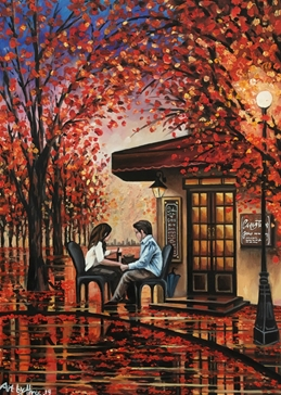 Art autumn trees leaves couples romance love wine cafe park reflections orange yellow tables for-her for-him anniversary valentines  personalised online greeting card